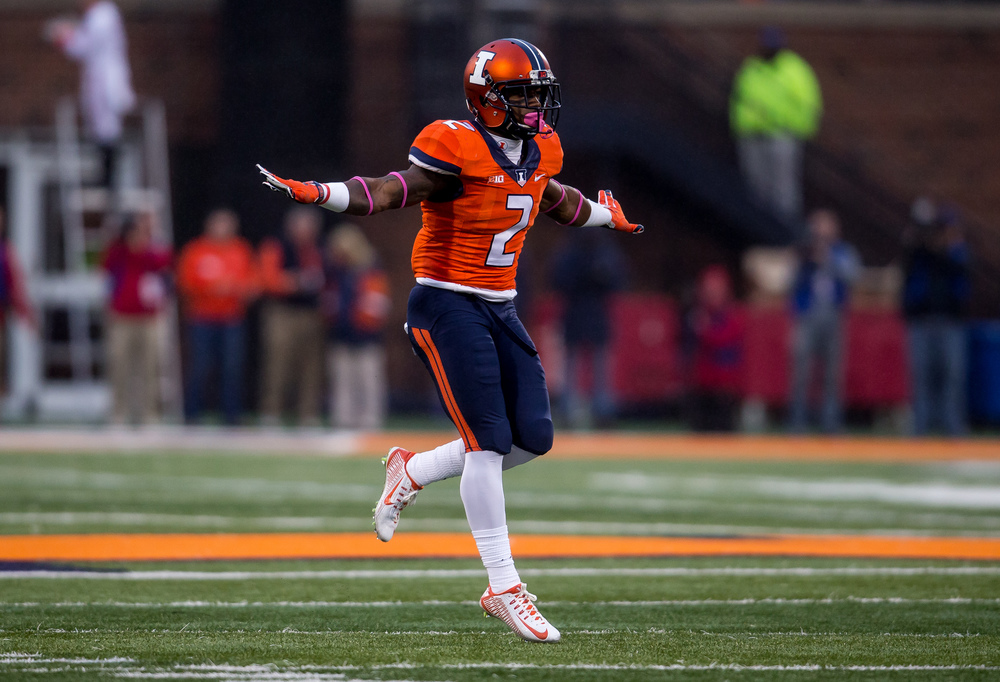 Illinois Fighting Illini defensive back V'Angelo Bentley (2) reacts after knocking down a Nebraska pass in the fourth quarter at Memorial Stadium, Saturday, Oct. 3, 2015, in Champaign, Ill. Justin L. Fowler/The State Journal-Register