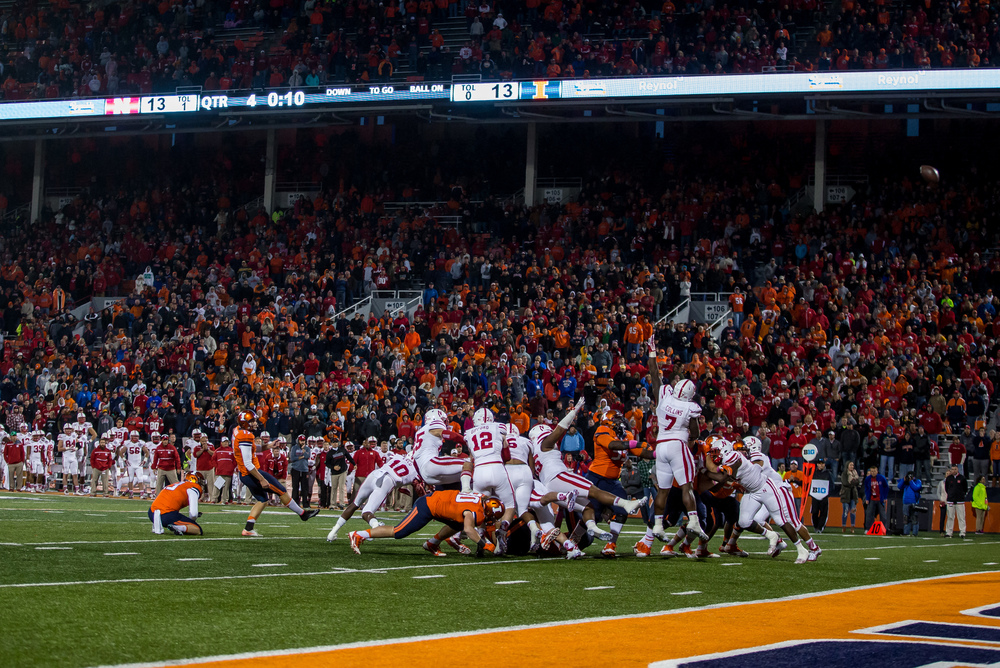 Illinois Fighting Illini place kicker Taylor Zalewski (17) kicks the extra point to the give the Illini a 14-13 lead against Nebraska with 10 seconds left in the fourth quarter at Memorial Stadium, Saturday, Oct. 3, 2015, in Champaign, Ill. Justin L. Fowler/The State Journal-Register