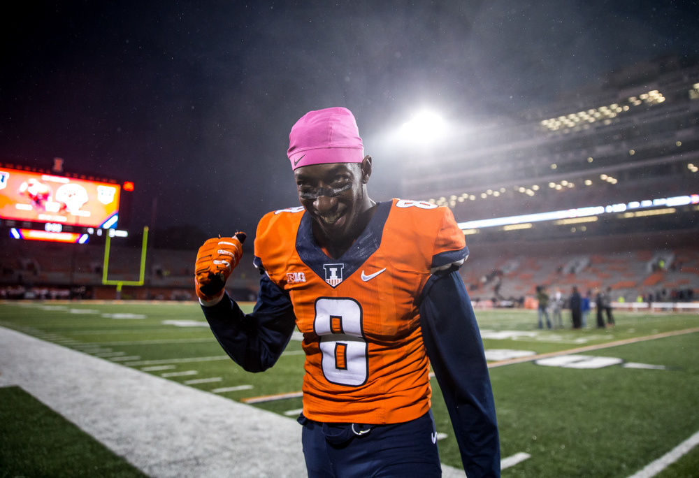Illinois Fighting Illini wide receiver Geronimo Allison (8) heads to the stands to celebrate after the Illini's 14-13 victory over Nebraska at Memorial Stadium, Saturday, Oct. 3, 2015, in Champaign, Ill. Justin L. Fowler/The State Journal-Register