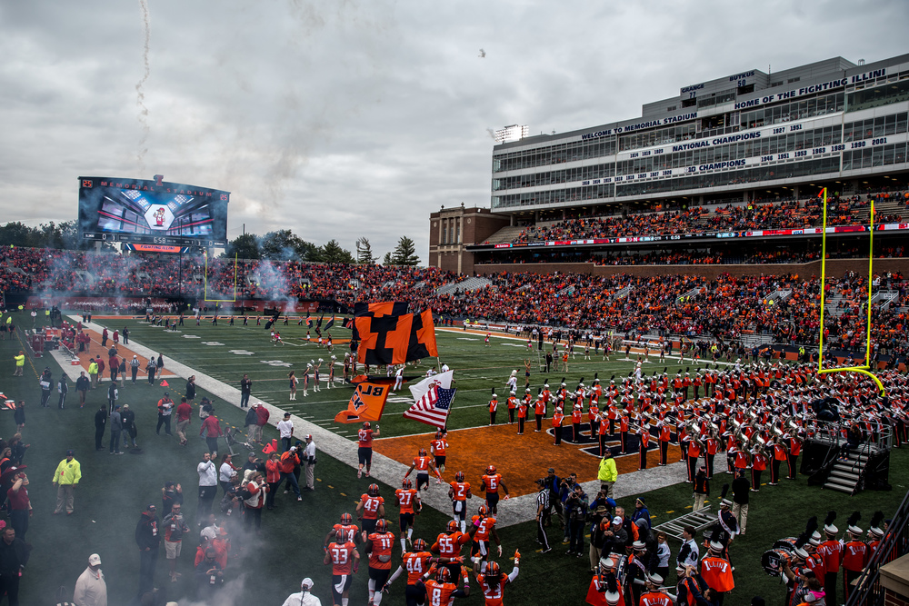 The Illinois Fighting Illini take the field to take on the Nebraska Cornhuskers at Memorial Stadium, Saturday, Oct. 3, 2015, in Champaign, Ill. Justin L. Fowler/The State Journal-Register