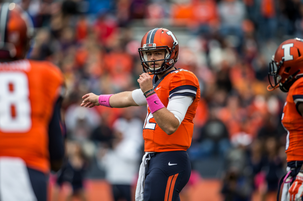 Illinois Fighting Illini quarterback Wes Lunt (12) directs his receivers into position as he lines up a play against the Nebraska Cornhuskers in the first quarter at Memorial Stadium, Saturday, Oct. 3, 2015, in Champaign, Ill. Justin L. Fowler/The State Journal-Register