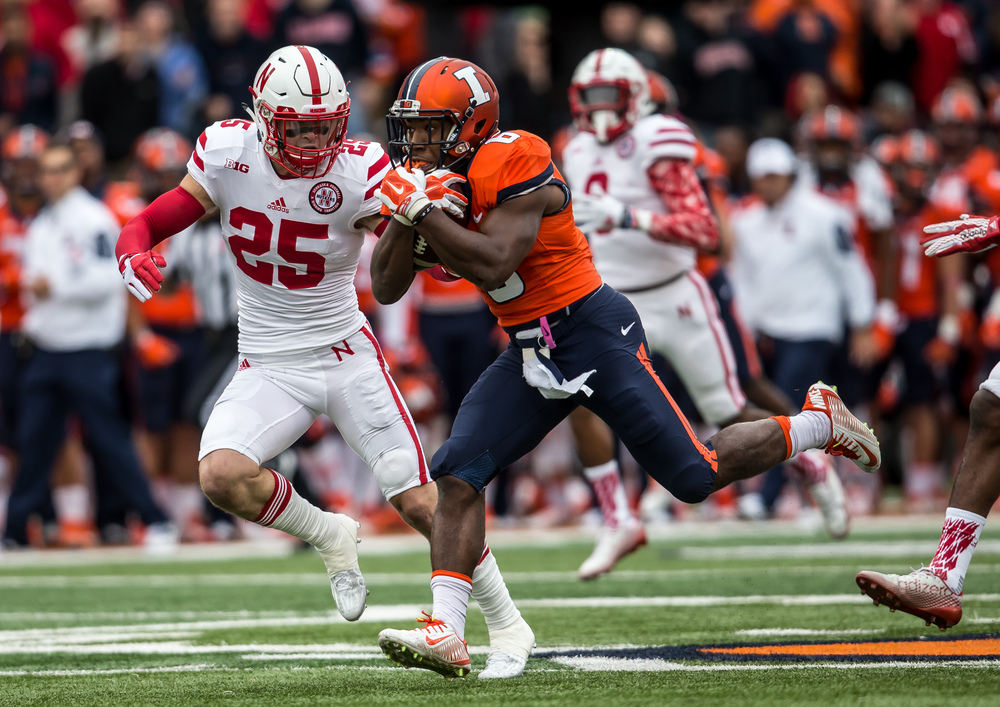 Illinois Fighting Illini running back Josh Ferguson (6) is brought down by Nebraska Cornhuskers safety Nate Gerry (25) on a 48-yard run in the first quarter at Memorial Stadium, Saturday, Oct. 3, 2015, in Champaign, Ill. Justin L. Fowler/The State Journal-Register