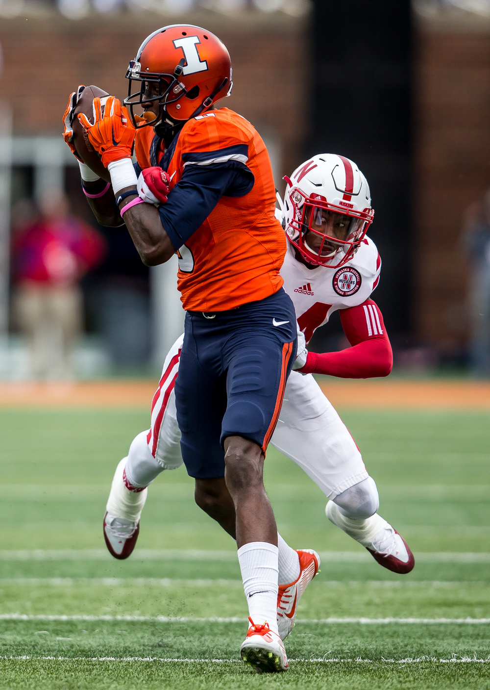 Illinois Fighting Illini wide receiver Geronimo Allison (8) makes a 26-yard reception against Nebraska Cornhuskers cornerback Jonathan Rose (14) in the first quarter at Memorial Stadium, Saturday, Oct. 3, 2015, in Champaign, Ill. Justin L. Fowler/The State Journal-Register