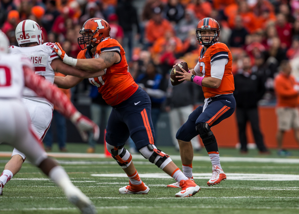 Illinois Fighting Illini quarterback Wes Lunt (12) drops back in protection for a pass against the Nebraska Cornhuskers in the second quarter at Memorial Stadium, Saturday, Oct. 3, 2015, in Champaign, Ill. Justin L. Fowler/The State Journal-Register
