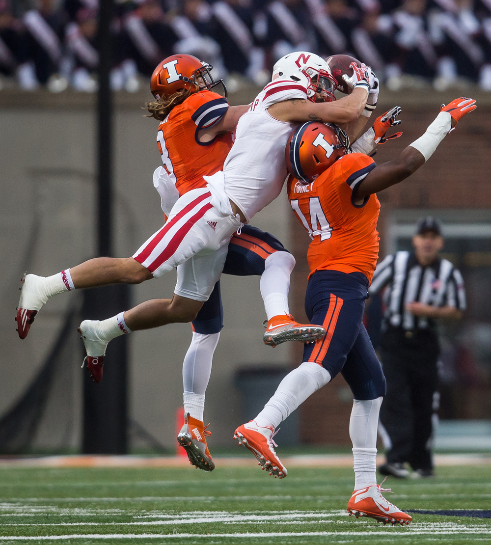 Illinois Fighting Illini safety Eric Finney (14) breaks up a pass intended for Nebraska Cornhuskers wide receiver Jordan Westerkamp (1) in the fourth quarter at Memorial Stadium, Saturday, Oct. 3, 2015, in Champaign, Ill. Justin L. Fowler/The State Journal-Register