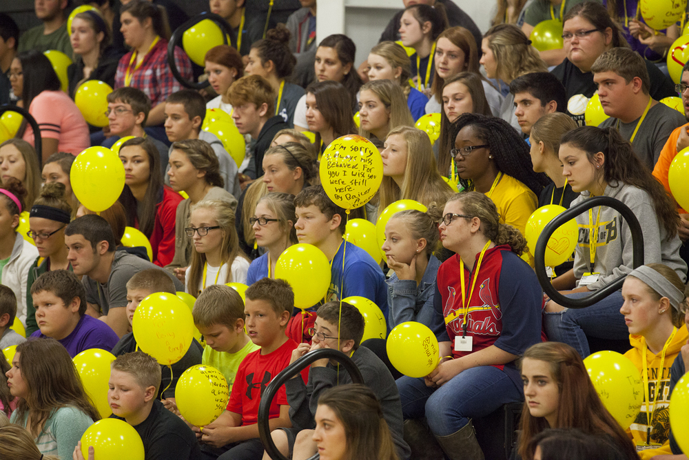 A-C Central Middle and High School students listen during a remembrance ceremony for the school's principal, Robert Sanders, Friday, Oct. 9, 2015 at the school in Ashland. Sanders died Wednesday. Rich Saal/The State Journal-Register