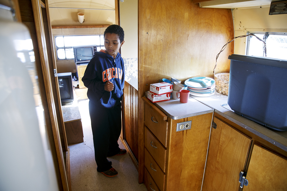 Waehlyn Durbin tours the 1952 Airstream Cruiser for sale during an auction at Shea's Gas Station and Museum in Springfield Saturday, Oct. 10, 2015. The Cruiser sold for $6,000. Ted Schurter/The State Journal-Register