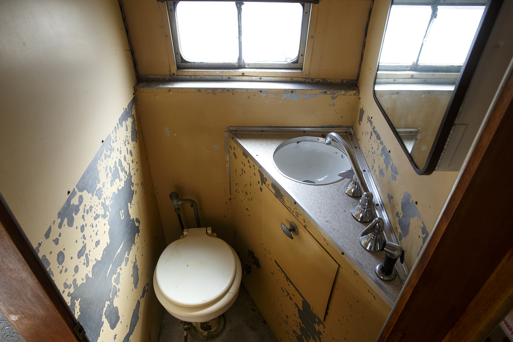 The bathroom in the 1952 Airstream Cruiser for sale during an auction at Shea's Gas Station and Museum in Springfield. The Cruiser sold Saturday, Oct. 10, 2015 for $6,000. Ted Schurter/The State Journal-Register
