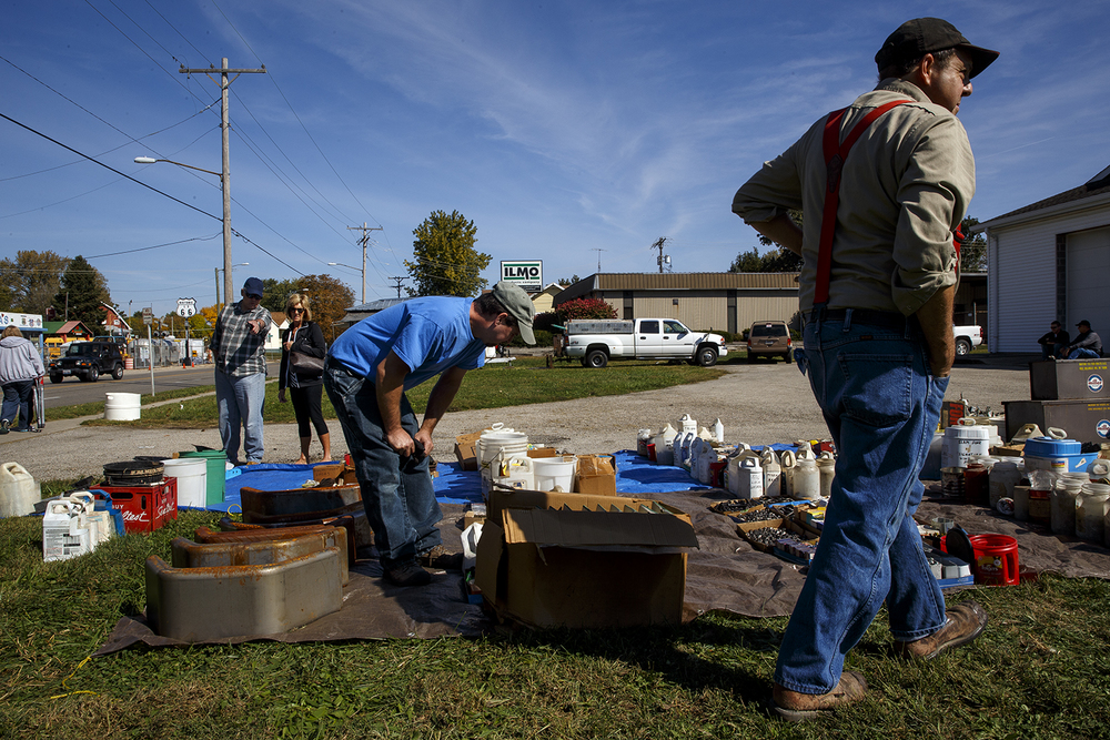 Patrons inspect the large assortment of hardware, tools and miscellaneous parts that were on display for an auction at Shea's Gas Station and Museum in Springfield Saturday, Oct. 10, 2015. The Route 66 landmark first opened in 1995 at 2075 Peoria Road by Bill Shea, who passed away in December 2013. Ted Schurter/The State Journal-Register