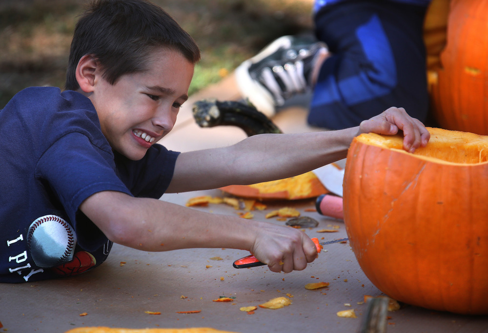 Brandon Lee, 10, of Frankfort, was wielding a carving knife with gusto as he carves out the face on a pumpkin for his sister Saturday morning. David Spencer/The State Journal-Register