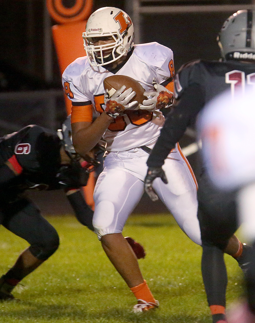 Lanphier ball carrier Davon Harris powers his way into the end zone for his team's third touchdown of the night. David Spencer/The State Journal-Register