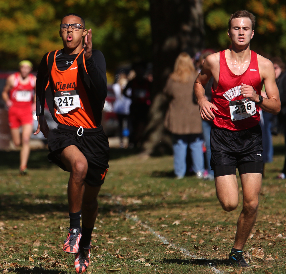 Lanphier and Springfield runners make a sprint to the finish line Saturday. David Spencer/The State Journal-Register
