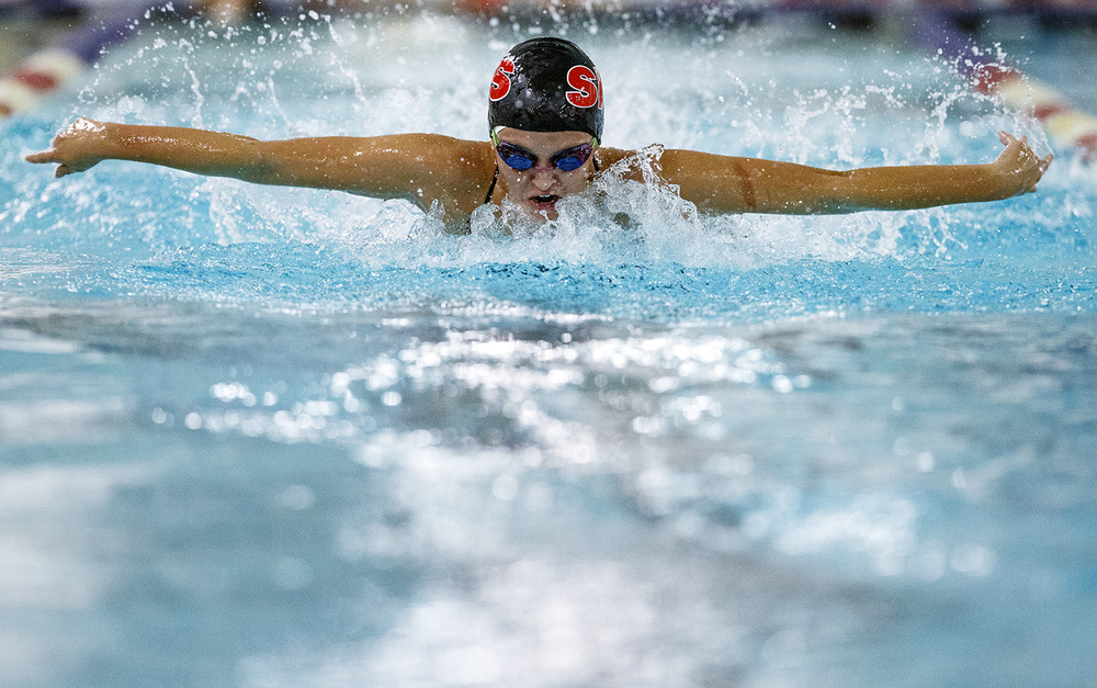 Springfield's Janie Sorenson swims the third leg of the 200 Yard Medley Relay during the Springfield City Championships at Eisenhower Pool Tuesday, Oct. 20, 2015.  Ted Schurter/The State Journal-Register
