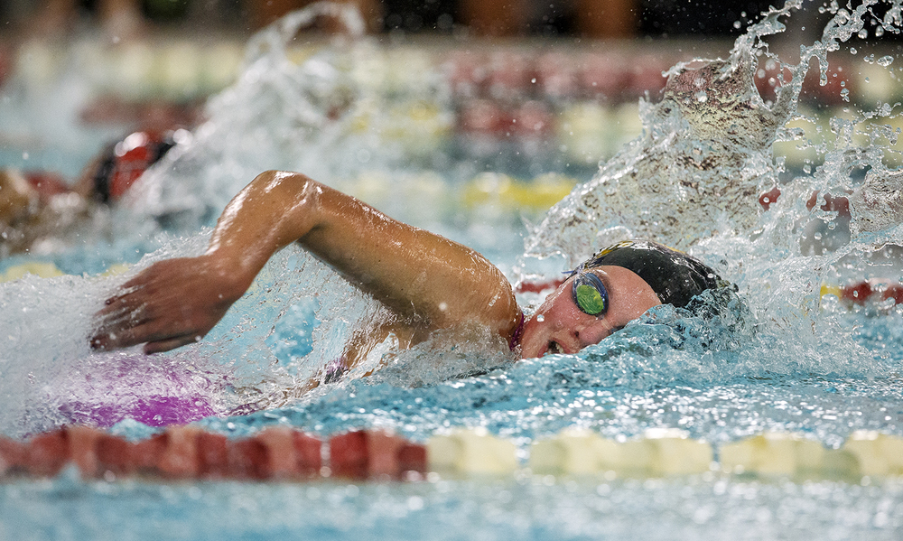Sacred Heart-Griffin's Abby Fierstos wins the Girls 200 Yard Freestyle during the Springfield City Championships at Eisenhower Pool Tuesday, Oct. 20, 2015.  Ted Schurter/The State Journal-Register