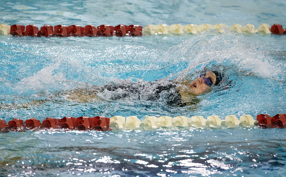 Springfield's Camryn Milling swims the backstroke during the 200 Yard Individual Medley at the Springfield City Championships at Eisenhower Pool Tuesday, Oct. 20, 2015.  Ted Schurter/The State Journal-Register