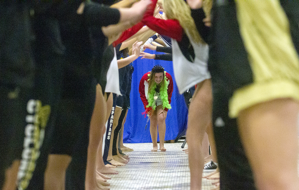 Springfield High School senior Jacqueline Gunther is introduced at the Springfield City Championships at Eisenhower Pool Tuesday, Oct. 20, 2015.  Ted Schurter/The State Journal-Register