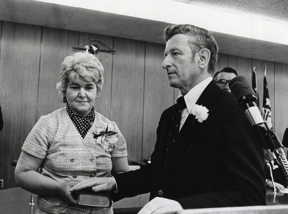 Ossie Langfelder, accompanied by his wife, Midge, is sworn in as Springfield's streets commissioner April, 1979.File/The State Journal-Register