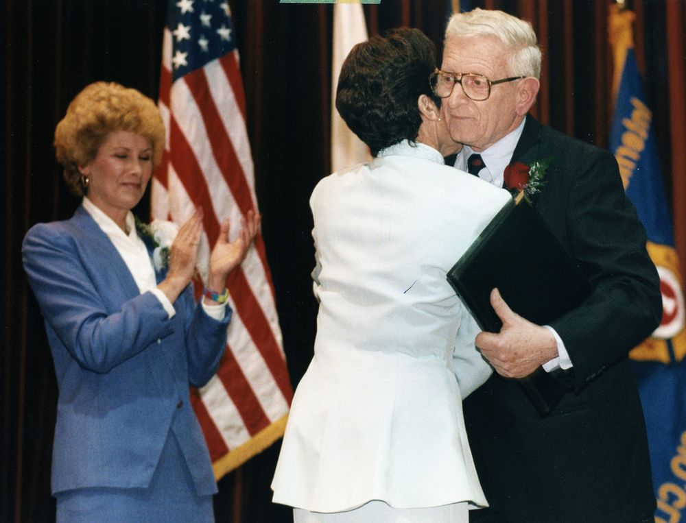 Ossie Langfelder is hugged by Mayor Karen Hasara during her inauguration May 1, 1995. File/The State Journal-Register
