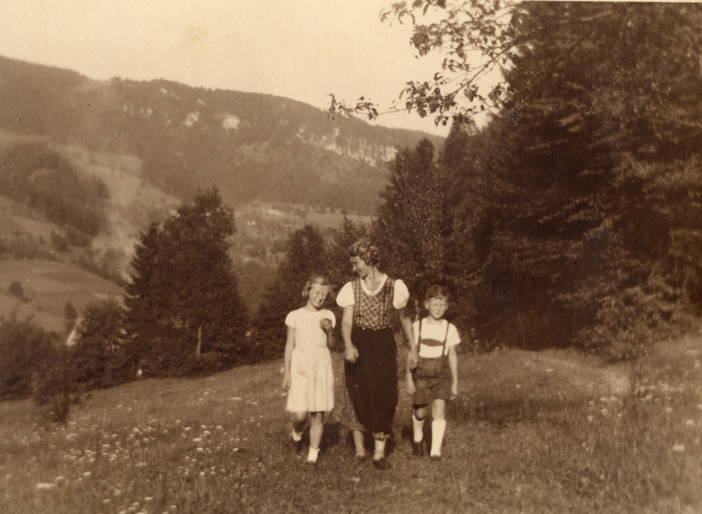 Ossie Langfelder and his sister, Edith, walk in the Austrian Alps with their mother Ruth in the early 1930's. Photo courtesy Langfelder family