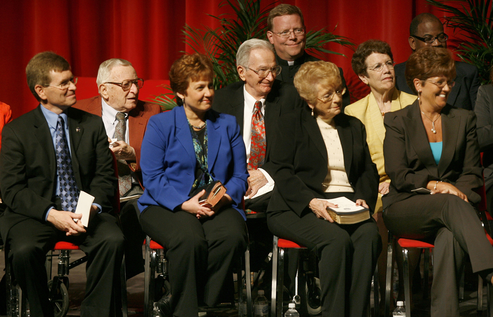 During inauguration ceremonies for Mayor Mike Houston, Ossie Langfelder was on stage along with former mayor Karen Hasara, second row, right, at Sangamon Auditorium  April 29, 2011. Jim Langfelder, then city treasurer, is on the left. File/The State Journal-Register