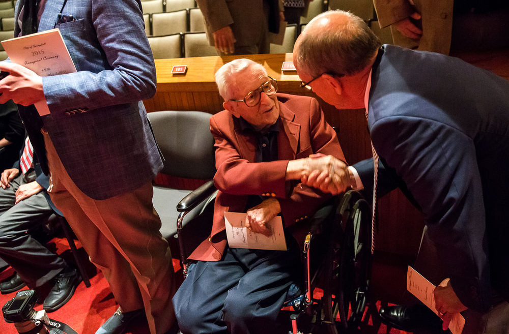 Former Springfield Mayor Ossie Langfelder, the father of current mayor Jim Langfelder, talks with visitors after the City of Springfield 2015 Inaugural Ceremony at the Sangamon Auditorium, Thursday, May 7, 2015, in Springfield, Ill. Justin L. Fowler/The State Journal-Register