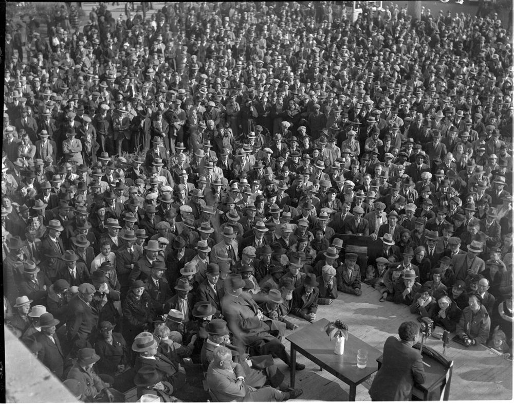 Today's featured image was from cropped from this overall view of the crowd. Taken from a second-story ledge at the Old Capitol with a large format Speed Graphic camera, it produced a 4x5 inch negative capable of holding image quality when enlarged. File/The State Journal-Register