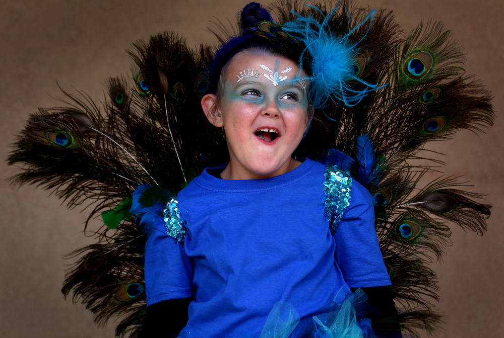 Playing a peacock for the afternoon is Carlee Fairchild, 5, of Rochester, whose mom Angie Fairchild said her daughter originally wanted to be an owl but it morphed into the more colorful bird with the aid of real peacock feathers helped along by a trusty glue gun and ideas gleaned on Pinterest. David Spencer/The State Journal-Register