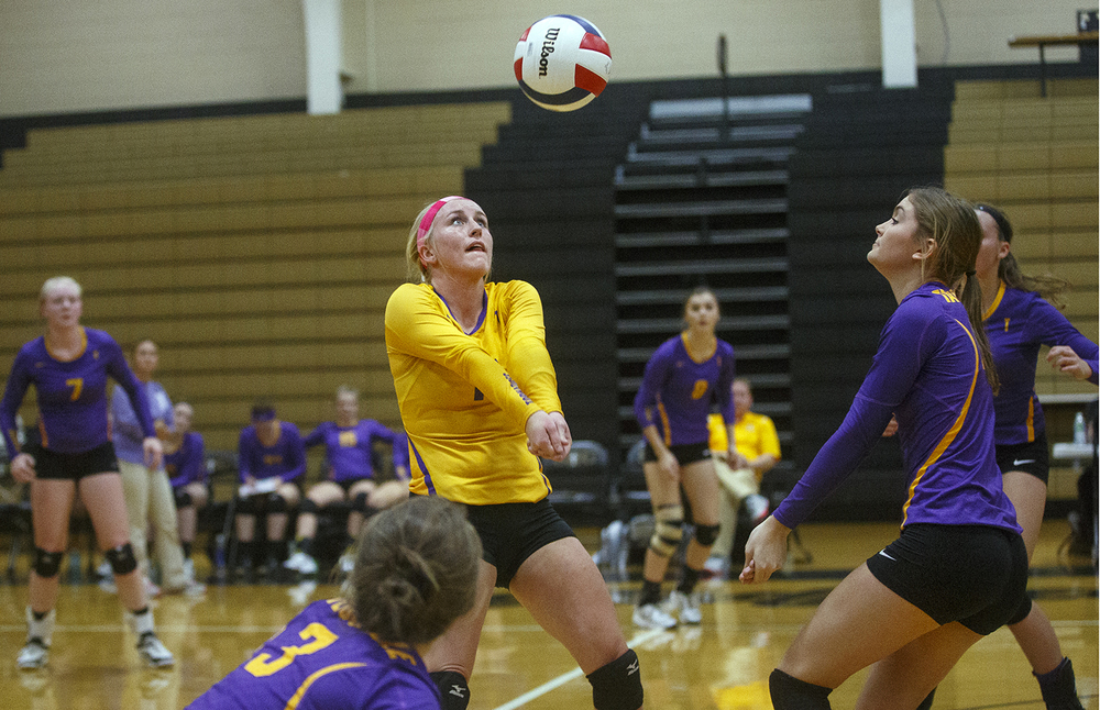 Taylorville's Taylor Durham passes the ball during the 3A Sacred Heart-Griffin Regional volleyball at Belz Gym Tuesday Oct. 27, 2015. Ted Schurter/The State Journal-Register