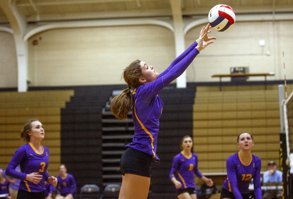 Taylorville's Morgan Bangert passes the ball during the 3A Sacred Heart-Griffin Regional volleyball at Belz Gym Tuesday Oct. 27, 2015. Ted Schurter/The State Journal-Register