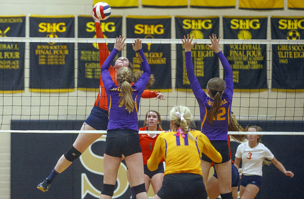 Rochester's Angela Perry spikes the ball against Taylorville during the 3A Sacred Heart-Griffin Regional volleyball at Belz Gym Tuesday Oct. 27, 2015. Ted Schurter/The State Journal-Register