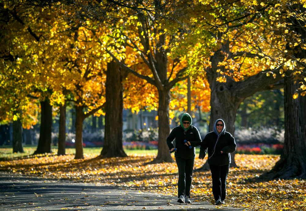"Mary Jo Welsh, left, and Mary Rhodes make laps along Williams Boulevard in the cool morning air and a backdrop of fall foliage, Thursday, Oct. 29, 2015, in Springfield, Ill. ""I think it's awesome, it's crisp. I like it a lot,"" said Welsh of the cooler temperatures. Justin L. Fowler/The State Journal-Register"