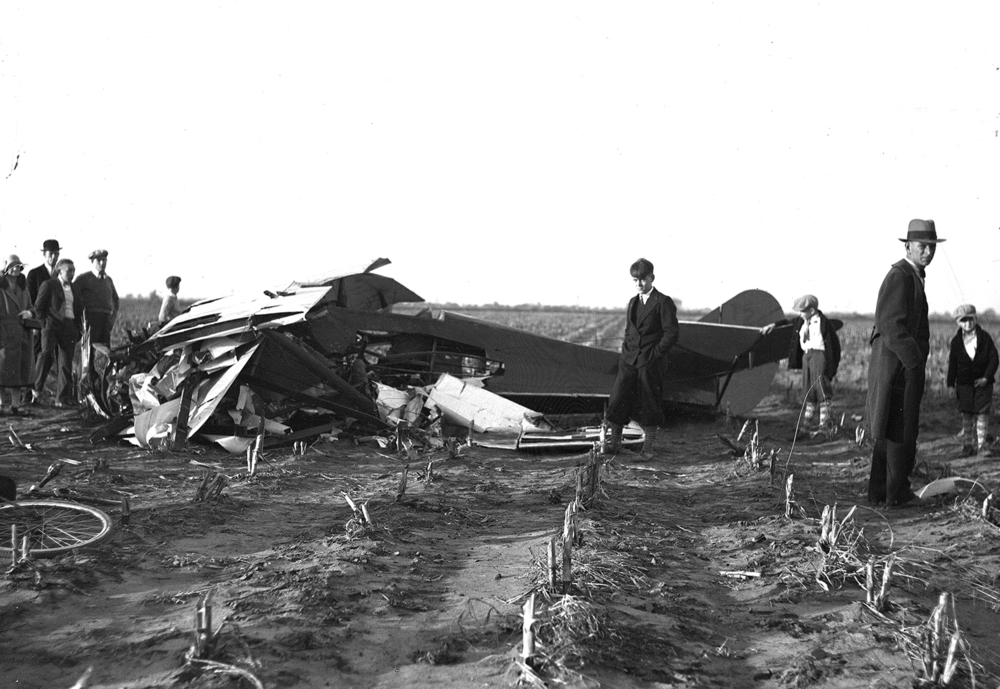 "Plane crash, ""Russell Baker killed, John Marsh injured""  Illinois State Journal/Register glass plate negative/Sangamon Valley Collection at Lincoln Library  C-98-456  negative #0718  VF 2000-55   Pub. ISJ November 3, 1930.   2/3"