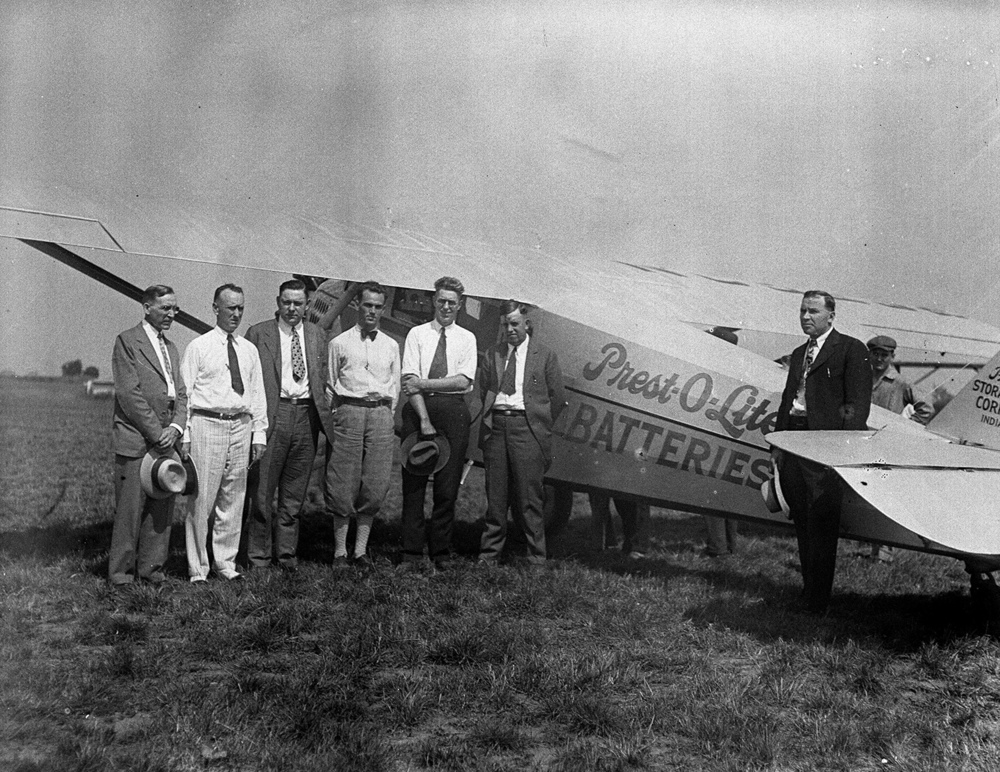 An airplane advertising Prest-O-Lite batteries from Indianapolis, at the municipal airport August 9, 1929. File/The State Journal-Register