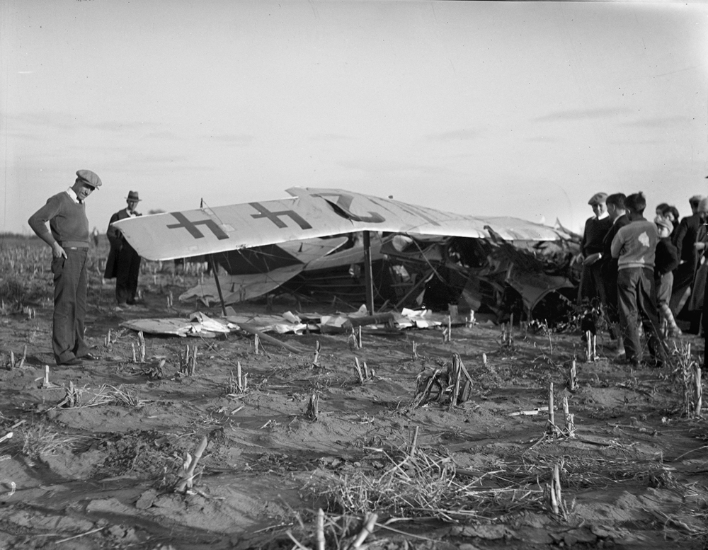 Scene of plane crash that killed 19-year-old Russell Baker and injured John Marsh Nov. 2, 1930. File/The State Journal-Register