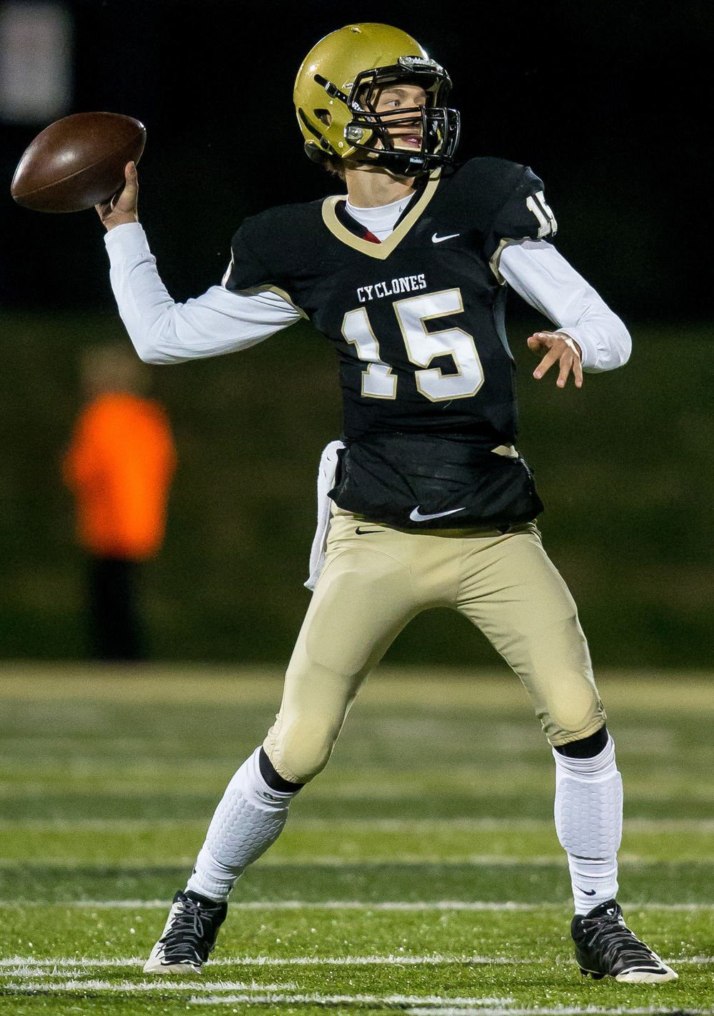 Sacred Heart-Griffin quarterback Tim Brenneisen (15) drops back for a pass against Palos Heights Shepard in the third quarter during the first round of the Class 6A playoffs at the Sacred Heart-Griffin Sports Complex, Friday, Oct. 30, 2015, in Springfield, Ill. Justin L. Fowler/The State Journal-Register
