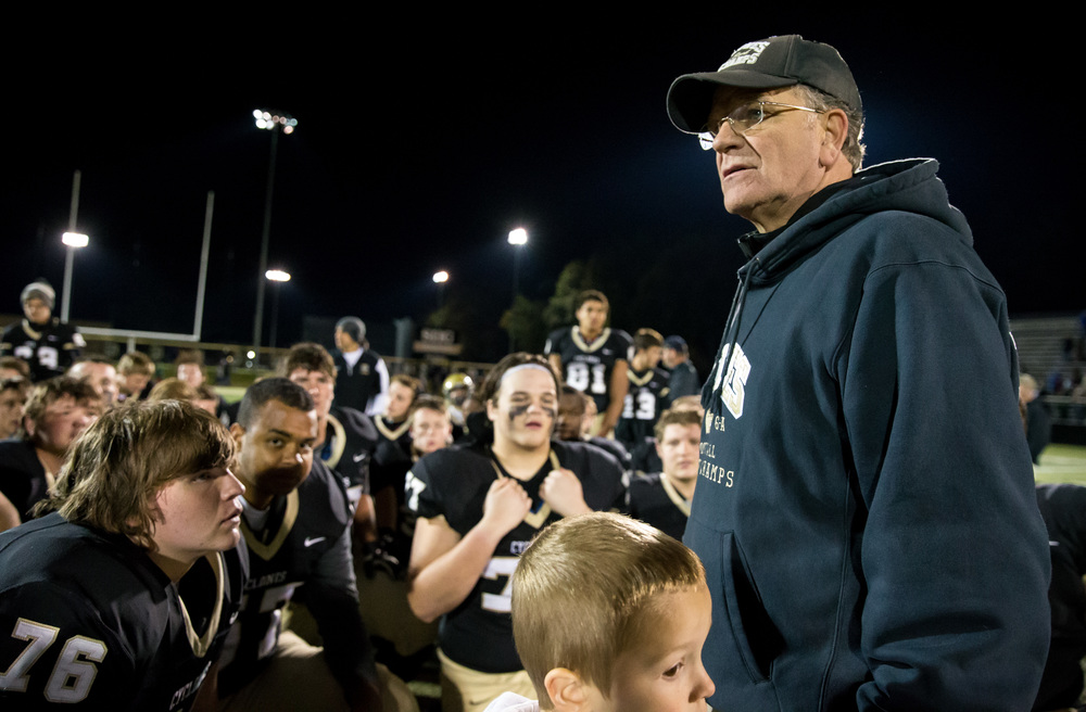 Sacred Heart-Griffin head football coach Ken Leonard talks to his team after the Cyclones defeated Palos Heights Shepard in the first round of the Class 6A playoffs at the Sacred Heart-Griffin Sports Complex, Friday, Oct. 30, 2015, in Springfield, Ill. Justin L. Fowler/The State Journal-Register