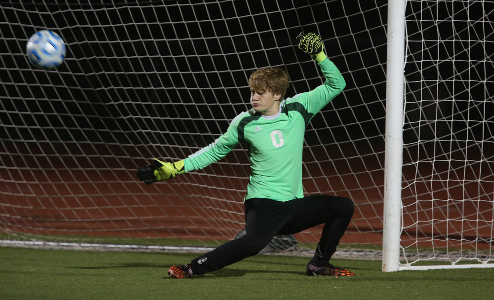 Springfield goal keeper Evan Wright deflects a shot late in the game. David Spencer/The State Journal-Register