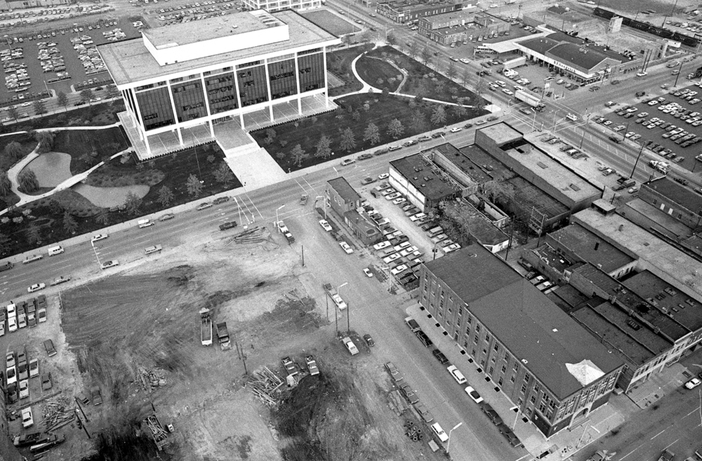 Land is cleared for construction of the Prairie Capital Convention Center, Oct.30, 1974. The area is bordered by Washington Street, top center, Ninth Street, right, and Adams Street, bottom. The Horace Mann Insurance Company is at top. File/The State Journal-Register