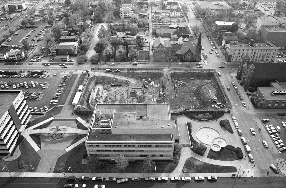 Construction of Lincoln Library, Oct. 30, 1974. The Sangamon County Building, left foreground, and Municipal Center. File/The State Journal-Register