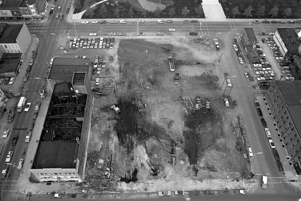 Clearing land for construction of Prairie Capital Convention Center, Oct.30, 1974. Area bordered by Seventh Street, left, Washington Street, top, Eighth Street, right, and Adams Street, bottom. File/The State Journal-Register