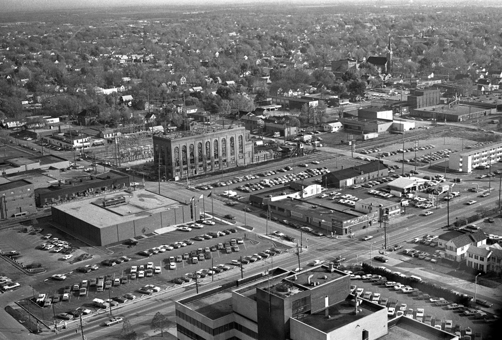 View looking southeast from the Forum 30 (Hilton Springfield), Oct. 30, 1974. The State Journal-Register printing plant is center left; offices for the newspaper were added later. A power plant that once provided heat for the downtown area is in the center at the corner of Eleventh and Capitol streets. It was demolished shortly after this photo was made. File/The State Journal-Register