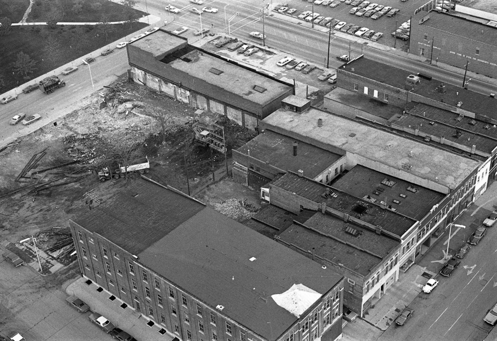 Land is cleared for construction of the Prairie Capital Convention Center, Oct. 30, 1974. The area is bordered by Washington Street, upper left, Ninth Street, top right, and Adams Street, lower right. File/The State Journal-Register