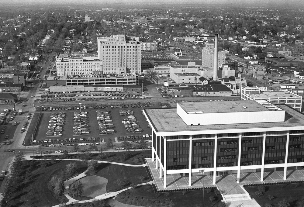 The Horace Mann Insurance Company office, foreground, and St. John's Hospital, Oct. 30, 1974. The Illinois Central Railroad runs along the Madison Street corridor, center of the photo. File/The State Journal-Register
