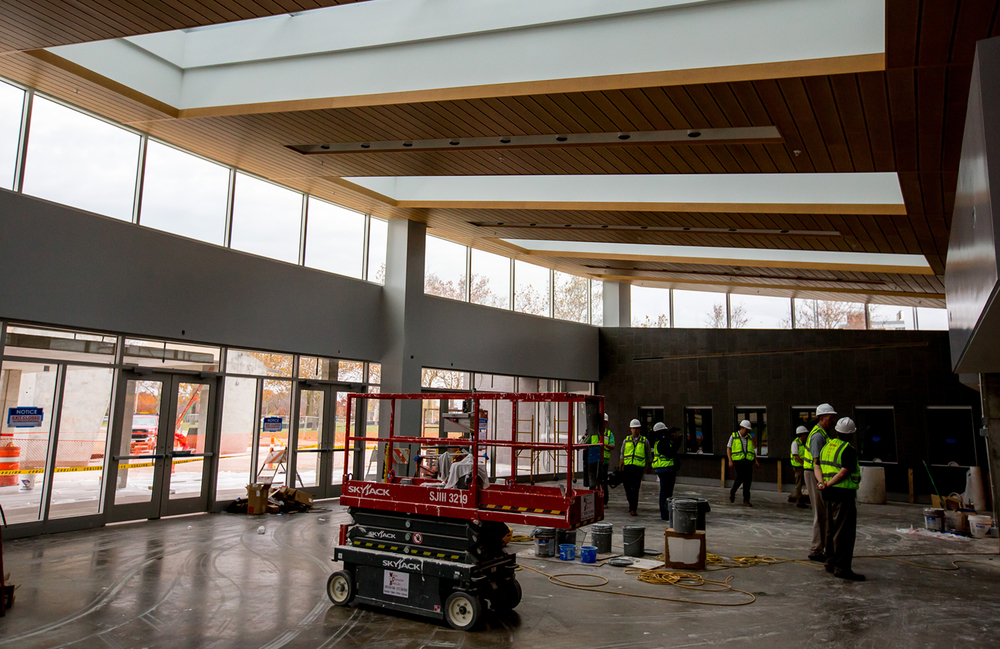 The new West Grand Entrance is surrounded by large windows including skylights as construction continues on the renovations to the University of Illinois' State Farm Center, Thursday, Nov. 5, 2015, in Champaign, Ill. Justin L. Fowler/The State Journal-Register