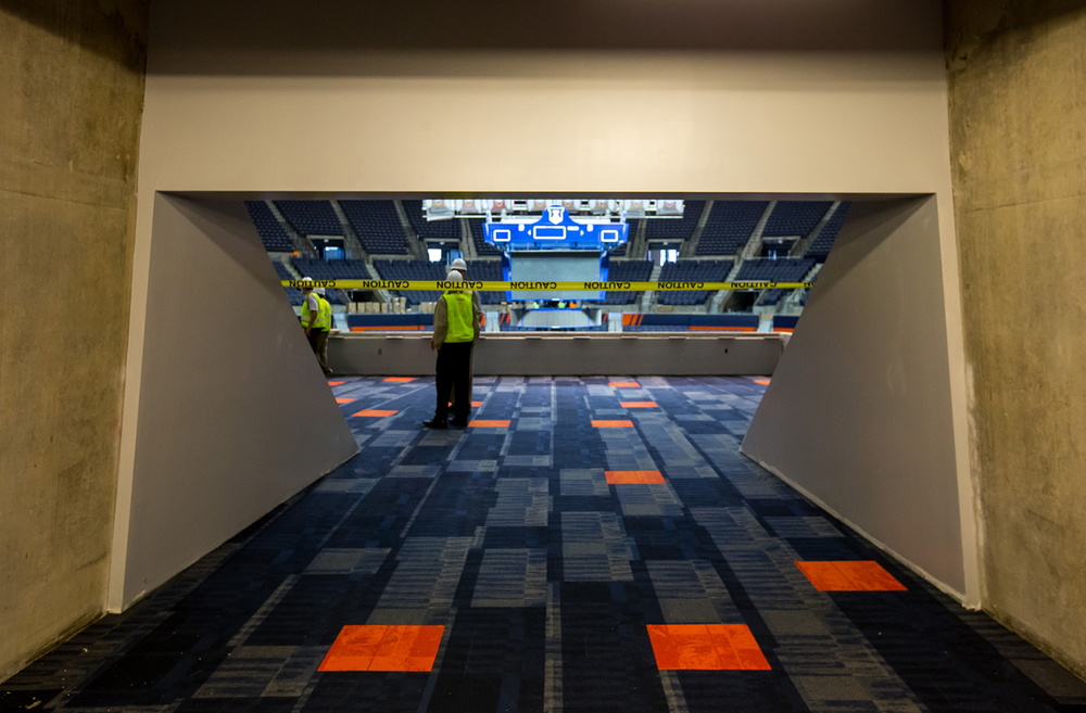 The carpeting has been installed for the new Traditions Club concourse as construction continues on the renovations to the University of Illinois' State Farm Center, Thursday, Nov. 5, 2015, in Champaign, Ill. Justin L. Fowler/The State Journal-Register