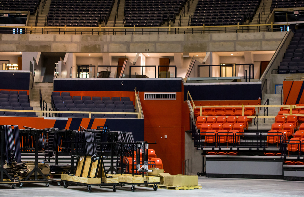 Construction continues on the twelve new Founders Suites just above the Traditions Club seating and student section during renovations at the University of Illinois' State Farm Center, Thursday, Nov. 5, 2015, in Champaign, Ill. Justin L. Fowler/The State Journal-Register