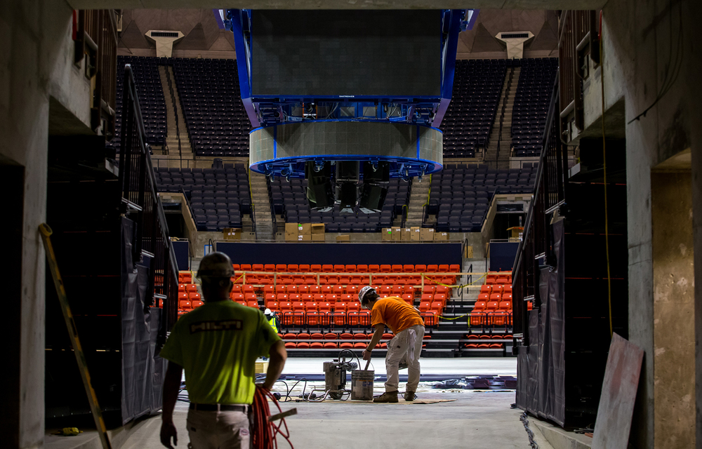 Workers begin packing up their equipment as construction continues on the floor level renovations to the University of Illinois' State Farm Center, Thursday, Nov. 5, 2015, in Champaign, Ill. Justin L. Fowler/The State Journal-Register