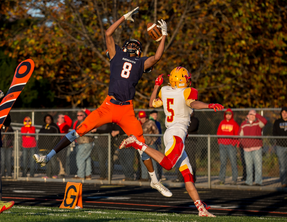 Rochester's Collin Stallworth (8) comes down out-of-bounds on what would have been a touchdown against Murphysboro in the second quarter during the second round of the Class 4A playoffs at Rochester High School, Saturday, Nov. 7, 2015, in Rochester, Ill. Justin L. Fowler/The State Journal-Register