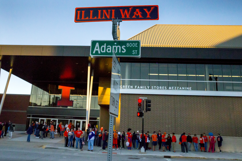 Fans head home after the University of Illinois defeated the University of Illinois Springfield 104-69 during an exhibition game at the Prairie Capital Convention Center, Sunday, Nov. 8, 2015, in Springfield, Ill. Justin L. Fowler/The State Journal-Register
