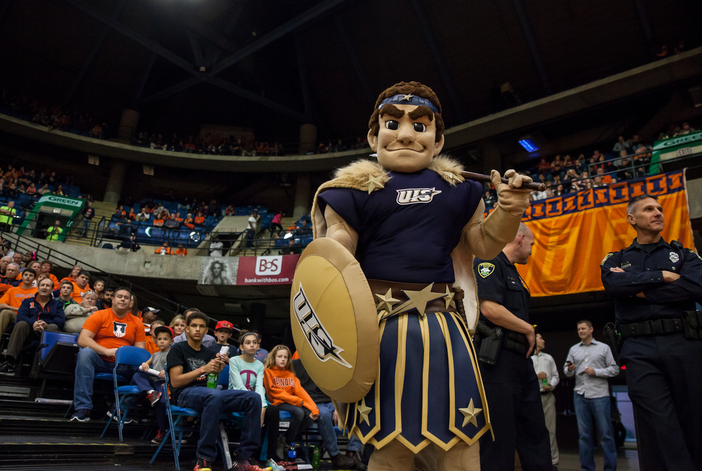 The University of Illinois Springfield mascot takes in the game from the sidelines as Prairie Stars take on the University of Illinois during an exhibition game at the Prairie Capital Convention Center, Sunday, Nov. 8, 2015, in Springfield, Ill. Justin L. Fowler/The State Journal-Register